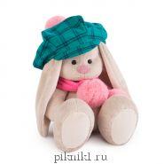 Зайка Ми в зеленой кепке и розовом шарфе 18 см